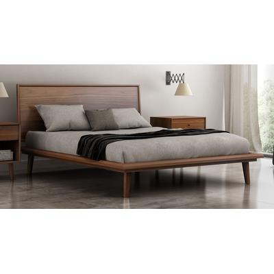 Herman Queen Platform Bed with Slat Support - Light Natural Walnut