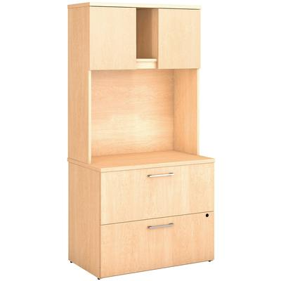 400 Series Lateral File Cabinet with Hutch in Natural Maple