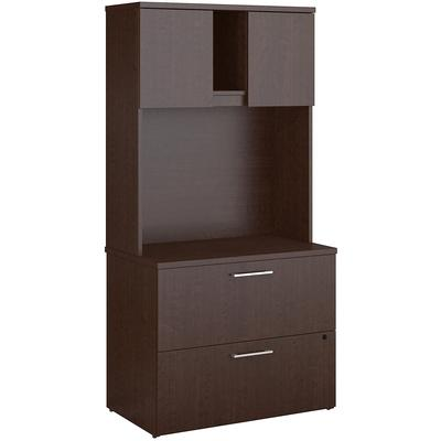 400 Series Lateral File Cabinet with Hutch in Mocha Cherry