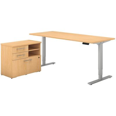 "400 Series 72""W x 30""D Height Adjustable Standing Desk with File Cabinet in Natural Maple"