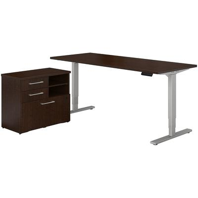 "400 Series 72""W x 30""D Height Adjustable Standing Desk with File Cabinet in Mocha Cherry"
