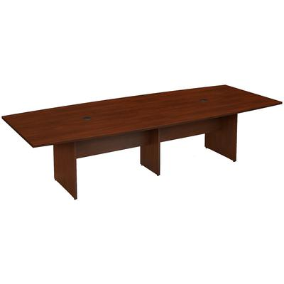 """120""""W x 48""""D Boat Shaped Conference Table with Wood Base in Hansen Cherry"""