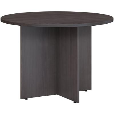 """42""""W Round Conference Table with Wood Base in Storm Gray"""