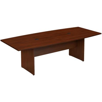 """96""""W x 42""""D Boat Shaped Conference Table with Wood Base in Hansen Cherry"""