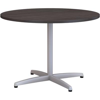 "42""W Round Conference Table with Metal X Base in Storm Gray"