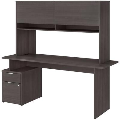 "Jamestown 72"" 2-Drawer Desk with Hutch - Storm Gray"