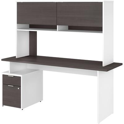 "Jamestown 72"" 2-Drawer Desk with Hutch - White/Storm Gray"