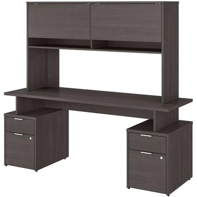 "Jamestown 72"" 4-Drawer Desk with Hutch - Storm Gray"