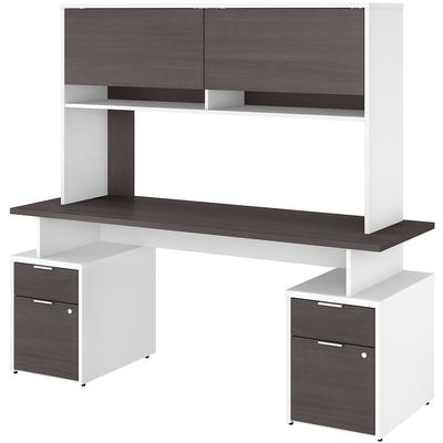 "Jamestown 72"" 4-Drawer Desk with Hutch - White/Storm Gray"
