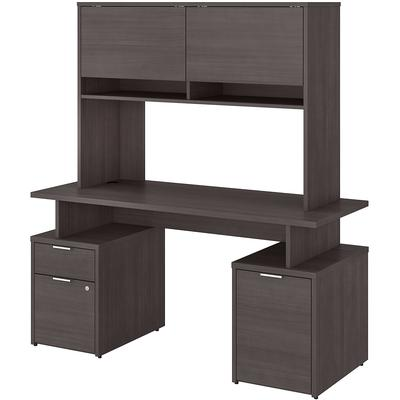 """Jamestown 60"""" Desk with Drawers, Storage Cabinet and Hutch - Storm Gray"""