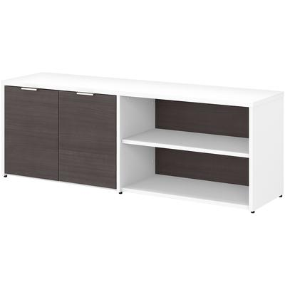 Jamestown Low Storage Cabinet with Doors and Shelves - White/Storm Gray