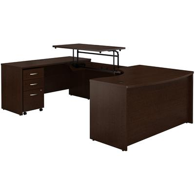 "Series C 60"" Left Hand 3-Position Sit to Stand U-Shaped Desk with Mobile File Cabinet - Mocha Cherry"