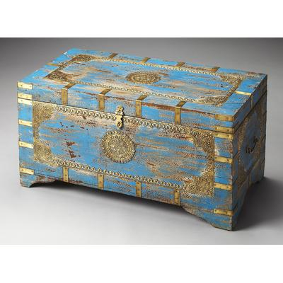 Artifacts Neela Painted Brass Inlay Storage Trunk