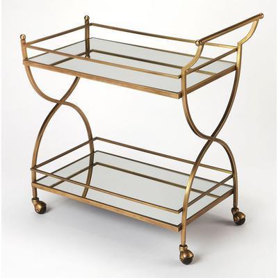 Butler Loft Graci Antique Gold Bar Cart