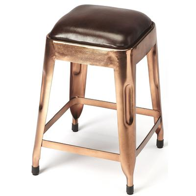 Industrial Chic Hatcher Leather Low Stool