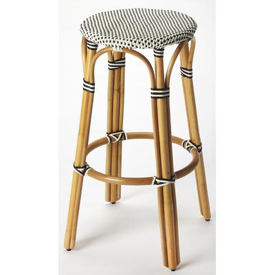 Designer's Edge Tobias Black And White Rattan Bar Stool