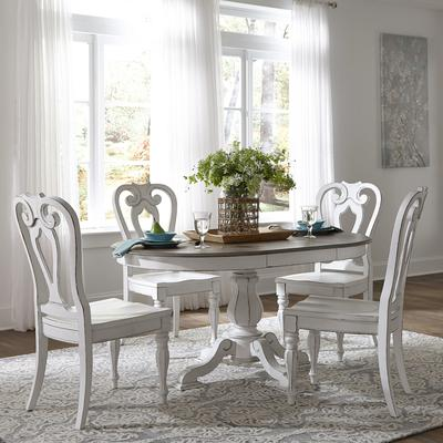 Magnolia Manor 5-Piece Pedestal Table Set