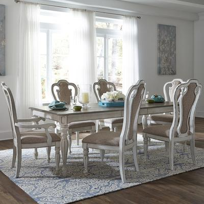 Magnolia Manor 7-Piece Leg Table Set with Upholstered Chairs
