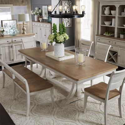 Farmhouse Reimagined 6-Piece Trestle Table Set with Ladder Back Chairs