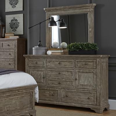 Highlands Seven-Drawer Two-Door Dresser and Mirror