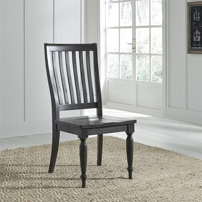 Harvest Home Slat Back Side Chair (RTA) - Chalkboard finish with Saw Cut Hewning