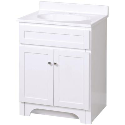 "Columbia 25"" White Bathroom Vanity with Cultured Marble Top"
