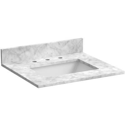 """25"""" Marble Vanity Top in Carrara White"""