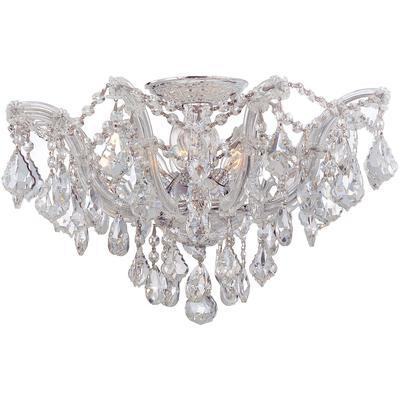 Maria Theresa 5-Light Semi-Flush Mount with Hand-Cut Crystal - Polished Chrome
