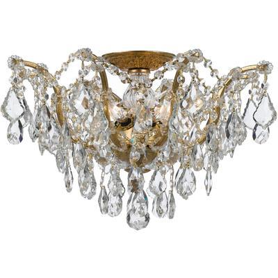 Filmore 5-Light Semi-Flush Mount with Swarovski Strass Crystal - Antique Gold