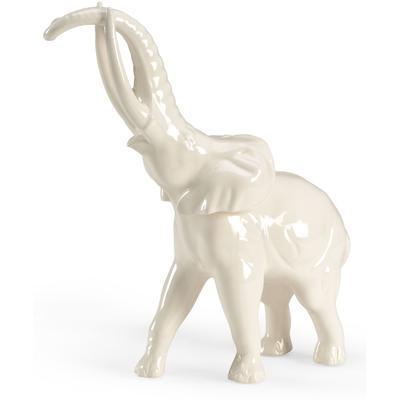 Large White Elephant Figurine