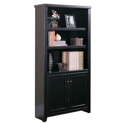 Tribeca Loft Three-Shelf Bookcase with Lower Doors - Midnight Smoke Black