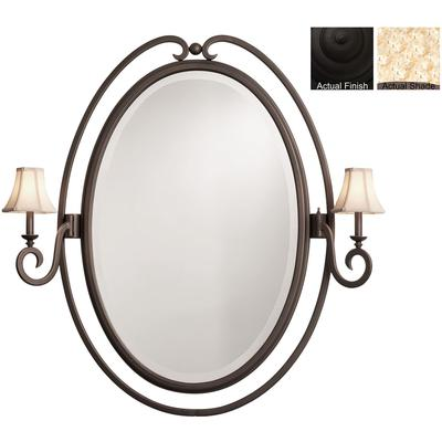 Santa Barbara 2-Light Oval Mirror - Black