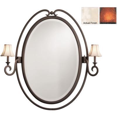 Santa Barbara 2-Light Oval Mirror - Pearl Silver