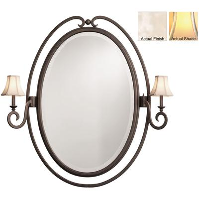 Santa Barbara 2-Light Oval Mirror - Pearl Silver