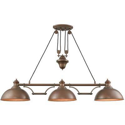 Farmhouse 3-Light Pulldown Island Light - Tarnished Brass