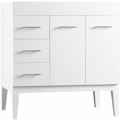 """36"""" Bella Vanity Base Cabinet with Leg - White, Right Doors"""