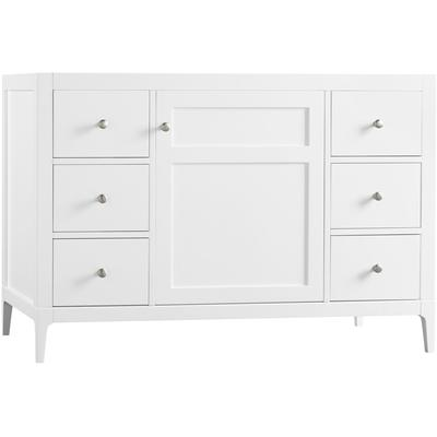 """48"""" Briella Bathroom Vanity Cabinet Base with Tapered Leg - White"""