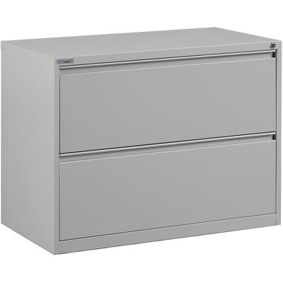 """36"""" 2-Drawer Lateral File with Core-Removable Lock and Adjustable Glides - Light Grey"""