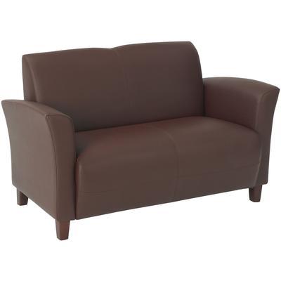 Wine Bonded Leather Love Seat