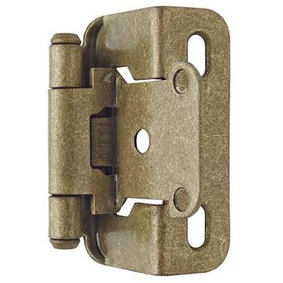 """1/2"""" (13 mm) Overlay Self-Closing, Partial Wrap Hinge - 2 Pack - Burnished Brass"""