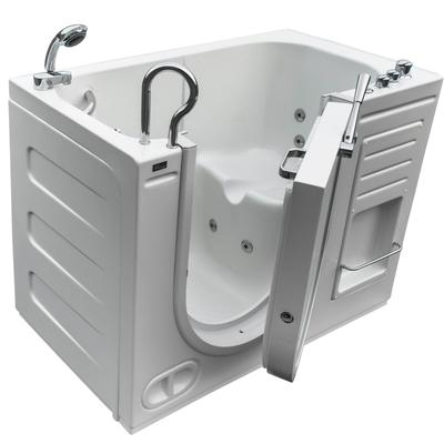 Free Standing Walk-In Acrylic Tub with 8 Heated Whirlpool Jets & Left-Hand Drain