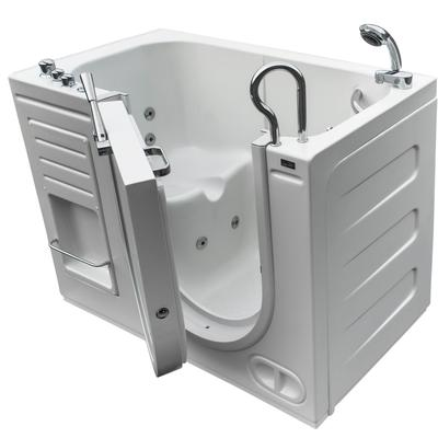 Free Standing Walk-In Acrylic Tub with 8 Heated Whirlpool Jets & Right-Hand Drain