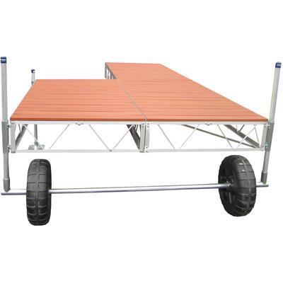 16' Patio Roll-In Dock With Brown Aluminum Decking