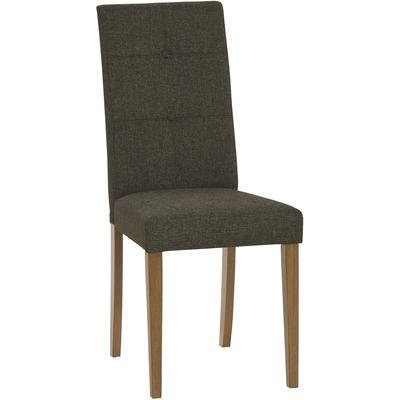 Arcade Upholstered Tufted Dining Chair, Set of 2 - Walnut/Charcoal Gray