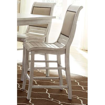 Willow Counter Upholstered Chair (Set of 2) - Distressed White