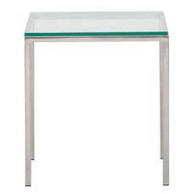Custom Glass Top End Table - Stainless Steel