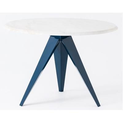 Mesa Round Table with Marble Top - Teal