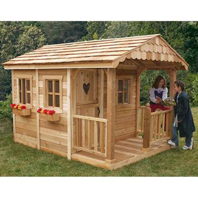 6' x 9' Sunflower Playhouse with 3' Cedar Deck Porch