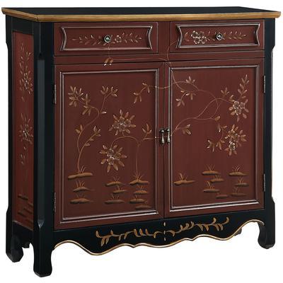 Red Oriental 2-Door Console Table