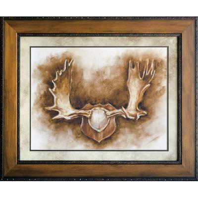 """Rustic Antler 2"" Domestic Framed Art under Glass"